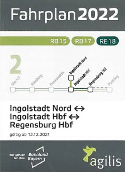 Zugfahrplan Ingolstadt - Regensburg - Landshut und zurück