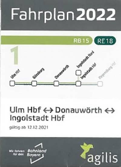 Zugfahrplan Ulm - Donauwörth - Ingolstadt - Ingolstadt Nord