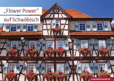 """Postkarte \""""Flower Power\"""" auf Schwäbisch (Bürgerspital, Aalen)"""