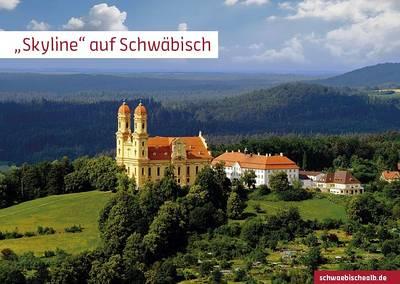 """Postkarte \""""Skyline\"""" auf Schwäbisch (Schönenberg, Ellwangen)"""