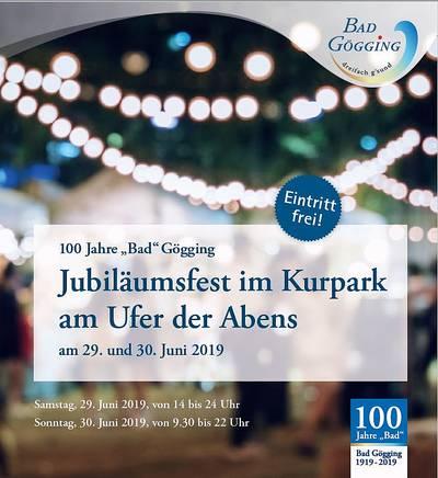 Jubiläumsfest im Kurpark am Ufer der Abens - 100 Jahre BAD Gögging