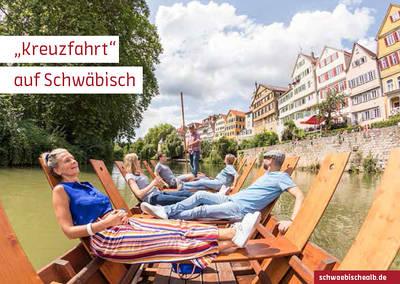 """Postkarte \""""Kreuzfahrt\"""" auf Schwäbisch (Neckarfront, Tübingen)"""