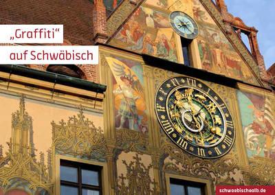 """Postkarte \""""Graffiti\"""" auf Schwäbisch (Rathaus, Ulm)"""