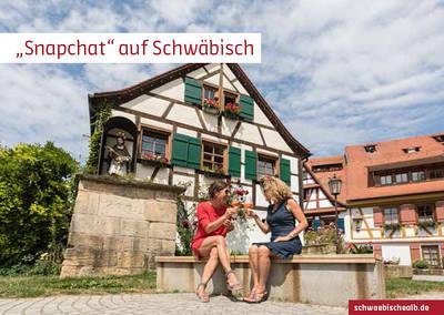 """Postkarte \""""Snapchat\"""" auf Schwäbisch (Haus am Nepomuk, Rottenburg am Neckar)"""